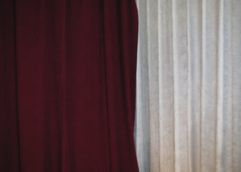 Burgundy Encore Velour Next to White Drape