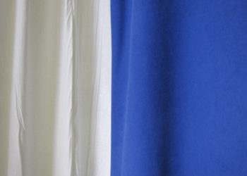 Blue Encore Velour White Drape