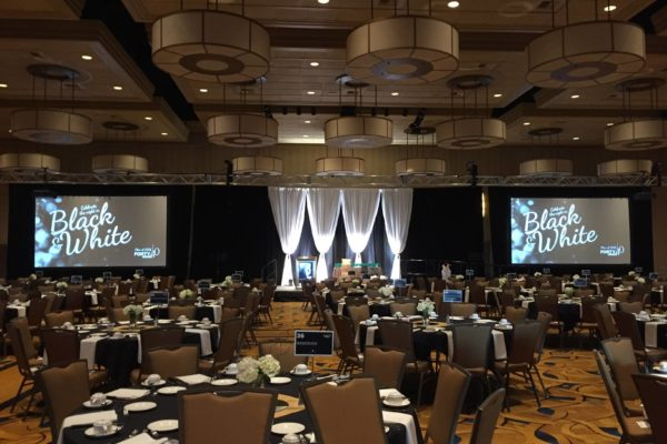 Quest-Events-Corporate-Events-Black-and-White-Reunion-AV-Surround-Drape-Rental
