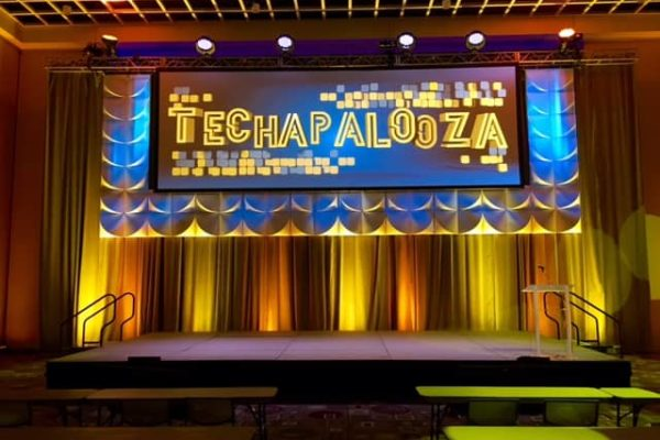 Quest-Events-Corporate-Special-Event-Podium-Scenic-Staging-Uplight-Drape-Formset-Techapalooza