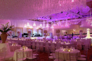 Quest-Events-Event-Drapery-Atlanta-Wedding-White-Ivory-Drape-Rental-Satin-Beaded-Curtain-Chandelier-Stage-Perimeter-Intercontinental-Hotel