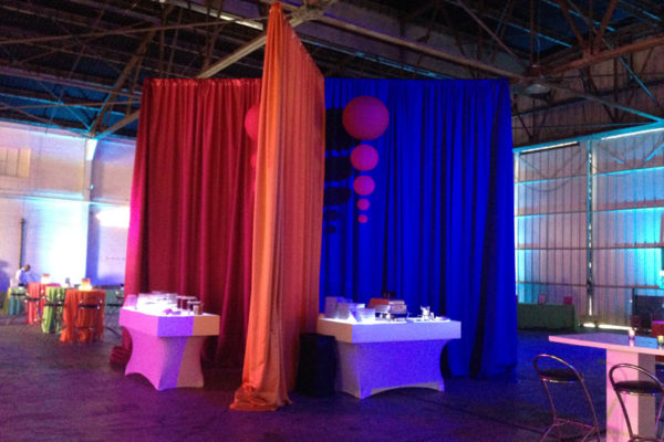 Quest-Events-Event-Drapery-Corporate-Special-Event-Warehouse-Buffet-Scenic-Design-Decor-Specialty-Drape-Chandeliers-Furniture-Spheres