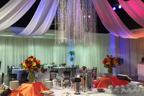 Quest-Events-Event-Drapery-Special-Events-Social-Gatherings-Scenic-Design-Decor-Beaded-Drape-Ceiling-Treatment-Chandelier-World-Changers-Church-International-Reception