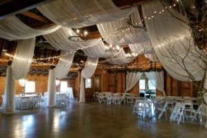 Quest-Events-Event-Drapery-Special-Events-Social-Gatherings-Wedding-Reception-Barn-Scenic-Design-Decor-Chandelier-Specialty-Drape-Ceiling-Treatment-LED-Twinkle-String-Lights-Oaks-Farm