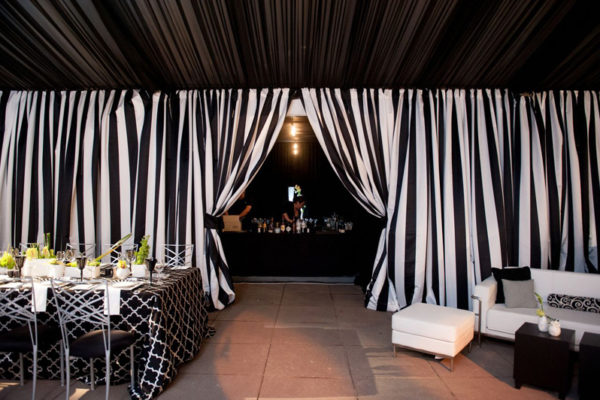 Quest-Events-Event-Drapery-Wedding-Black-White-Stripe-Drape-Rental-Parted-Entry-Bar-Tent-Entrance