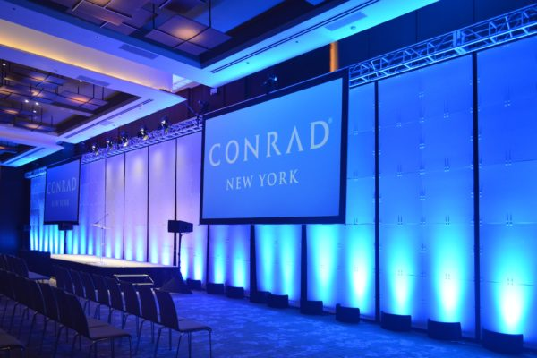 Quest-Events-Scenic-Backdrop-Rental-PSAV-NY-Conrad-Geo-Panels-Solid-Pattern-Hanging-Truss-Uplighting