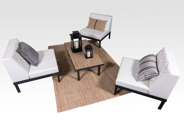 Seats: 3 Feet + Frame: Silver Add-Ons: Skirting, Underlighting & Charging Tables