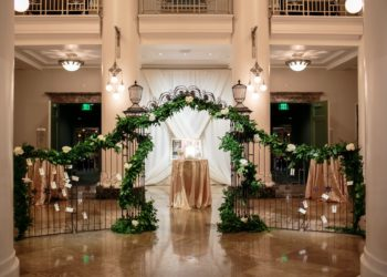 Quest-Events-Visual-Elements-Nashville-Tennessee-Special-Events-Cocktail-Hour-Stage-Scenic-Decor-Furnishings-Tall-Tables-Wrought-Iron-Arches-min