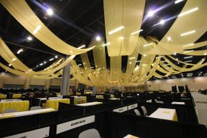 Quest-Events-Event-Drapery-Corporate-Event-Rentals-Custom-Gold-Sheer-Ceiling-Treatment-Beaded-Chandelier-GWCC-Food-Show