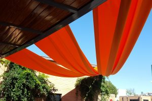 Quest-Events-Event-Drapery-Social-Fundraiser-Entrance-Ceiling-Treatment-Outdoor-Orange-Satin-Mason-Fine-Art-Atlanta-Georgia