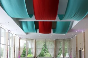 Quest-Events-Event-Drapery-Specialty-Drape-Ceiling-Treatment-Wedding-Ceremony-Park-Tavern-at-Piedmont-Park-Red-Tiffany-Satin-Atlanta-Georgia