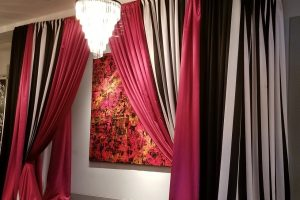 Quest-Events-Event-Drapery-Specialty-Drape-Social-Gathering-Sweet-16-Birthday-Party-Black-and-White-Stripe-Pink-Satin-Flourish