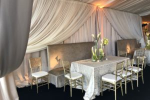 Custom-champagne-satin-perimeter-ivory-sheer-layering-drapes-event-rental-Wedding-Alabama-tent-reception