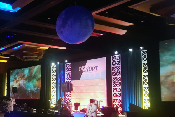 Disrupt-event-stage-backdrop-rental-scenic-geo-panel-kaos-pattern