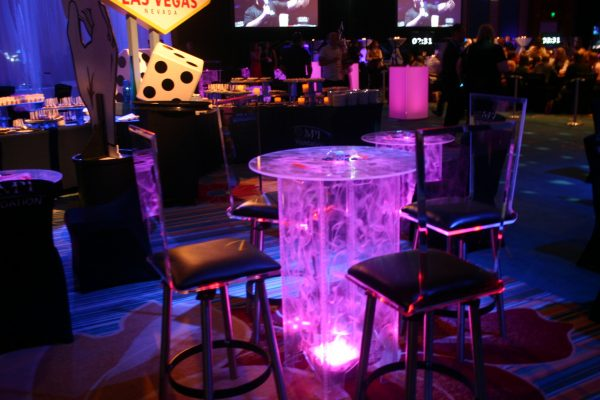 Swirled-Acrylic-Highboy-Cocktail-Table-Uplighting-Clear-Flex-Stools-Black-Cushion-Branded-Illum-Cube-Quest-Event-Rental-Totally-Mod