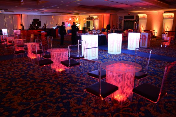 Swirled-Acrylic-Lowboy-Cocktail-Table-Uplighting-Flex-Stool-Black-Cushion-Quest-Event-Rental-Totally-Mod