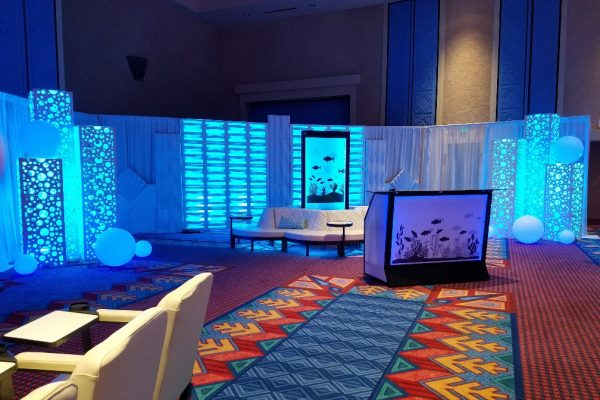 under-sea-theme-scenic-event-rentals-quest-events-totally-mod-towers-water-walls-lighted-spheres-session-seating-bar