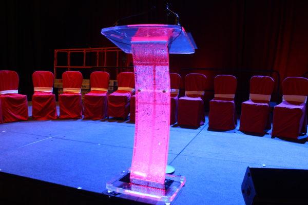 pink crystal lectern SoCal