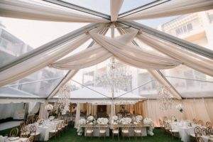 Asymmetrical-ceiling-drape-champagne-sheer-tent-wedding-reception-rental-quest-events-nashville