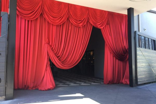 Quest-Events-Drape-Entryway-Glam-Flourish-TC-Book-Release-Red-Satin-Swags