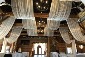 Quest-Events-Rustic-Wedding-Reception-Sheer-White-Drape-Ceiling Drape-Swags-Rental