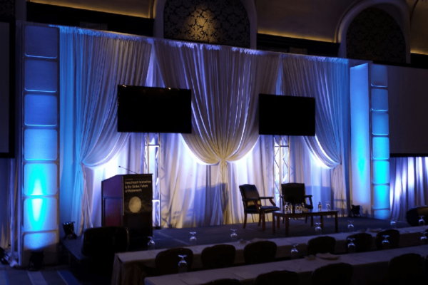 Quest-Events-Symposium-Stage-Backdrop-white-Drape-FormSet-Towers-Layers-Screen-Surround-rental