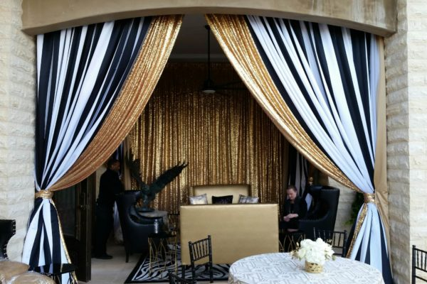 Social_Gold Sequina and Black and White stripe satin_Seating Cabana_Private Home