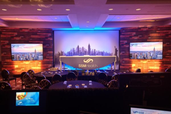 new-york-event-rentals-quest-events-style-tyles-printed-wood-backdrop-av-surround-ssm-health-conference
