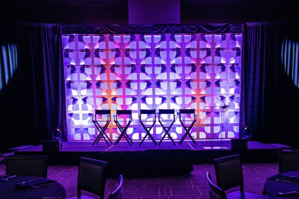 Style-Tyles-Stage-Backdrop-3D-Orlando-Luncheon-Rental-Quest-Events-Illuminated-Panel-Bowtie