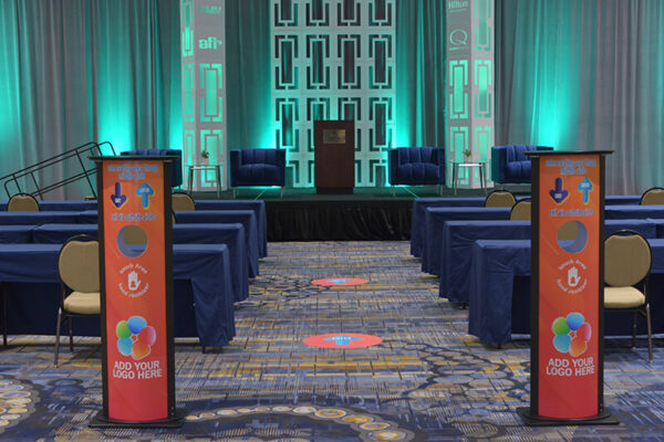 General-Session-Stage-Set-Quest-Events-AFR-Pipe-Drape-Hanging-Style-Tyles-Imperial-Columns-Cut-Out-Branding-Sanitizer-Stations-Floor-Clings