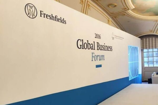 Global Business Fabric Wrapped Wall