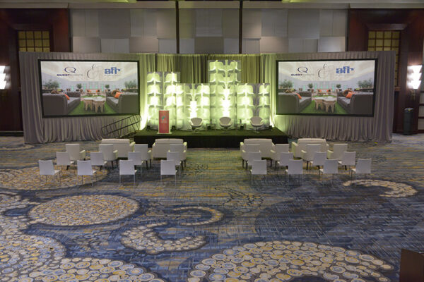 Quest-Events-General-Session-Stage-Set-FormSet-Petals-Grey-Velour-Screen-Surrounds-Frosted-Acrylic-Lectern-Branded