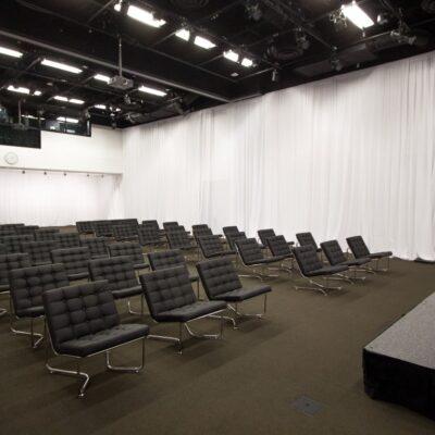 Blush_Soft Seating_Brooklyn Black Chair_White drape room surround